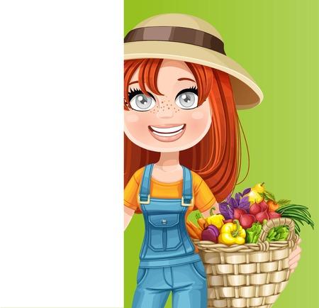 야채와 흰색 세로 배너의 큰 바구니와 함께 귀여운 여자 농부