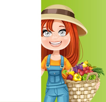 Cute woman farmer with a  big basket of vegetables and white vertical banner