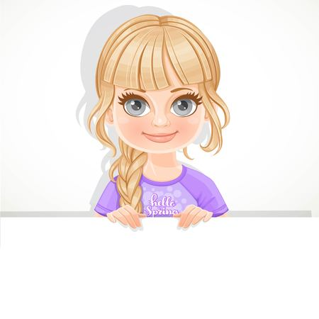 Cute blond girl in violet tee-shirt holds large white horizontal banner on a white background