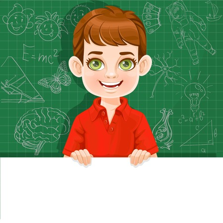 Cute boy holds large white horizontal banner on a green background Illustration