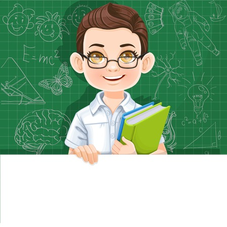 Cute brunette boy with school textbook holds large white horizontal banner on a green background