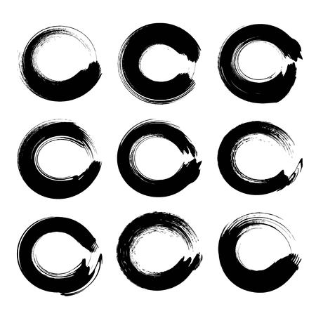 Black circle textured ink strokes set isolated on a white background Illustration