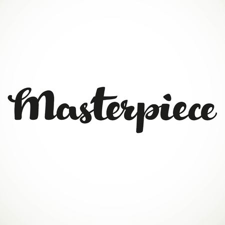 Masterpiece calligraphic inscription on a white background
