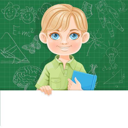 Schattige blonde jongen houdt leerboek en grote witte horizontale banner op een groene achtergrond