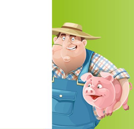 agrarian: Cute old farmer with a pig and white vertical banner Illustration