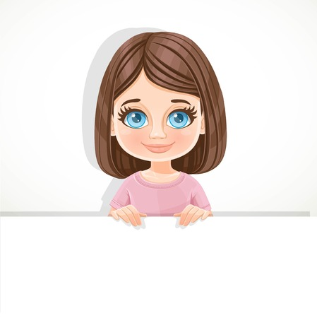 Cute blue-eyed brunette girl in pink tee-shirt holds large white horizontal banner on a white background Çizim