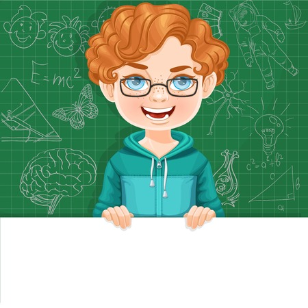 Cute boy in glasses holds large white horizontal banner on a green background Illustration