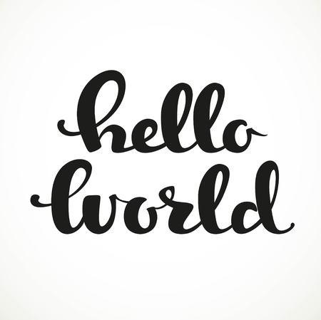 Hello world calligraphic inscription on a white background