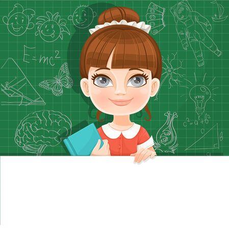Het leuke meisje met een schoolhandboek houdt een grote witte horizontale banner op een groene achtergrond