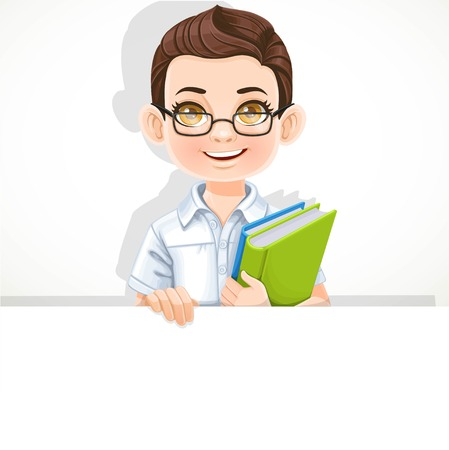 Cute brunette boy with school textbook holds large white horizontal banner on a white background Illusztráció