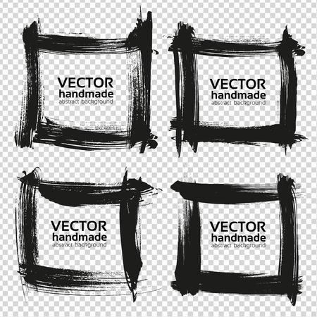 Four square frames from black smears isolated on imitation transparent background