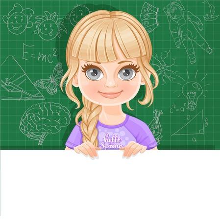 Leuk blond meisje in violet T-shirt houdt grote witte horizontale banner op een groene achtergrond