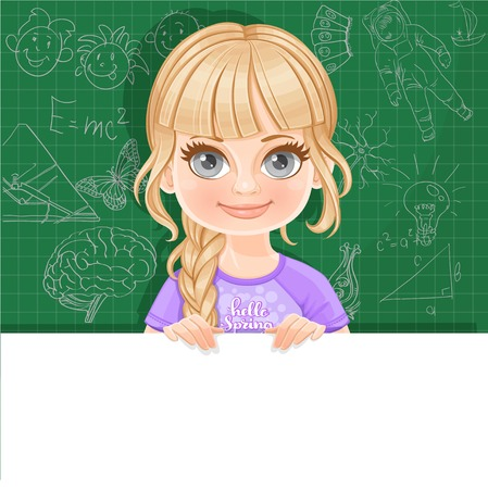 Cute blond girl in violet tee-shirt holds large white horizontal banner on a green background
