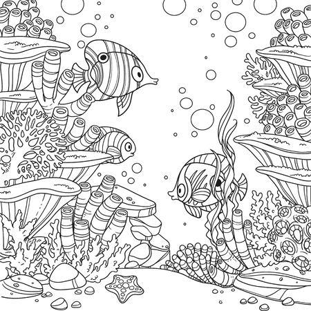 Onderwaterwereld met koralen, vis en anemonen geschetst geïsoleerd op een witte achtergrond