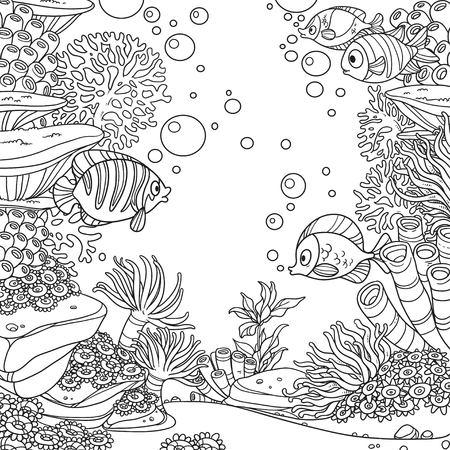 산호, 물고기, 조류 및 말미잘 흰 배경에 고립 된 페이지를 색칠하는 수 중 세계