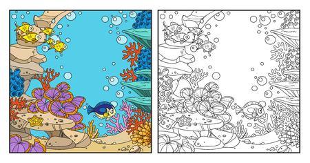 돌, 산호, 물고기, 해 조류와 흰 배경에 고립 된 말미잘 말미잘 수중 세계
