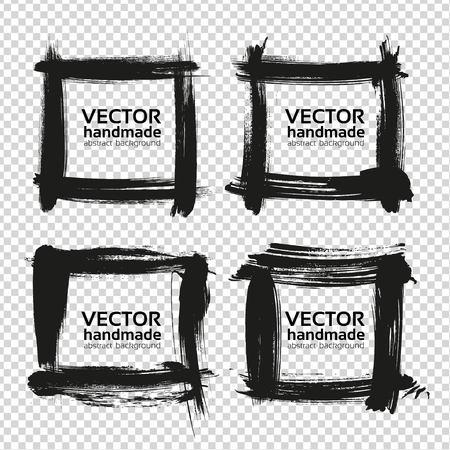 厚い黒から 4 つの正方形フレーム汚れの分離の模倣の透明な背景