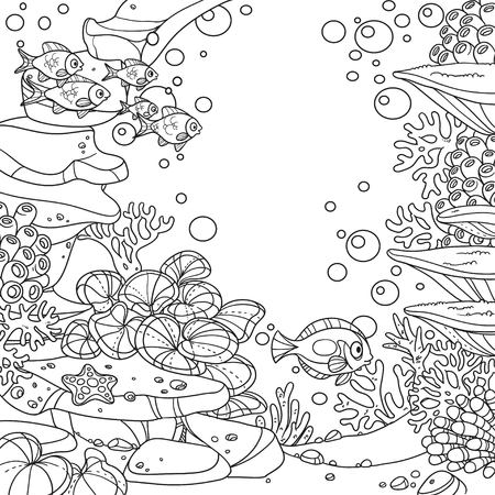 Underwater world with stones, corals, fish, algae and anemones outlined isolated on white background