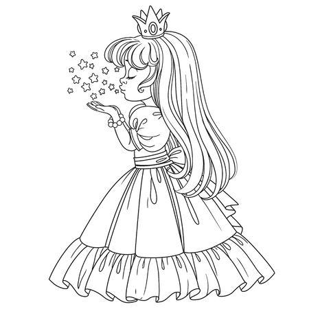 Belle fille princesse souffle les étoiles brillantes magiques décrites isolées sur fond blanc Banque d'images - 83522694