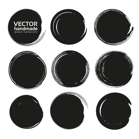 Black circle frames of thick textured paint smears isolated on white background Illustration