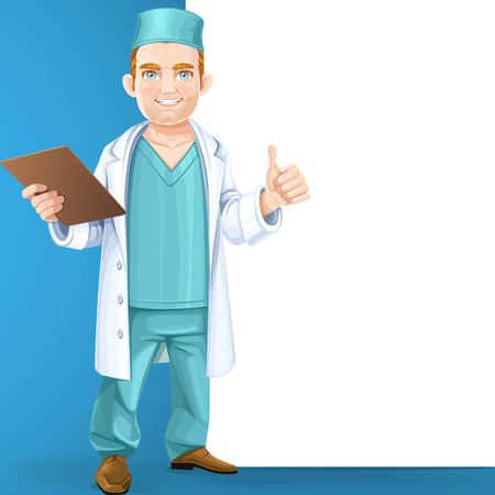 Cute doctor in surgical suit and white lab coat holding a medical history and showing gesture that everything will be okay stand near big vertical banner on blue background Ilustração