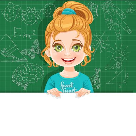 Cute little blond girl in green tee-shirt holds large white horizontal banner on a green background