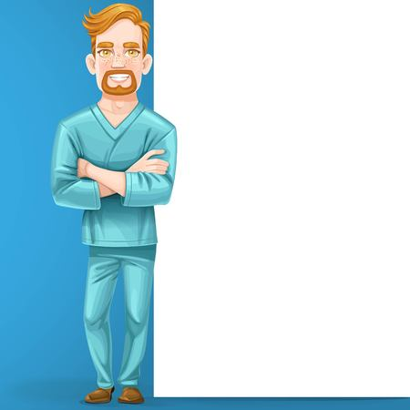 arms folded: Cute male doctor in green surgical suit with arms folded stand near big vertical banner on blue background