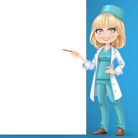 Beautiful girl doctor in surgeon costume showing pencil on a big white banner stand on the blue background
