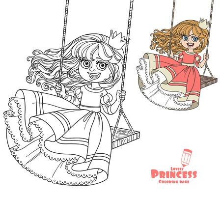 Mooie prinses die op een schommelingskleur en een geschetst beeld voor het kleuren van boek op witte achtergrond berijden