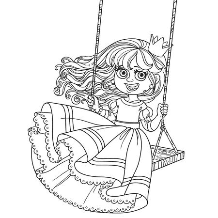Beautiful princess riding on a swing outlined for coloring book isolated on white background Vector Illustration