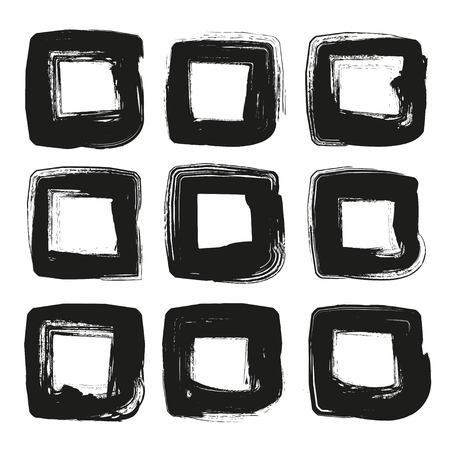 smudge: Square frames of thick black abstract textured paint smears isolated on white background Illustration