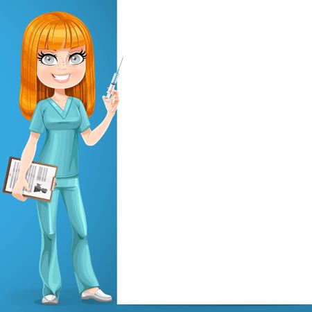 Redhead nurse in green suit preparing make an injection stand near big vertical banner on blue background
