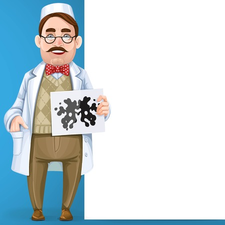 Psychiatrist doctor in a white coat and a Rorschach test in hand stand near big vertical banner on blue background Illustration