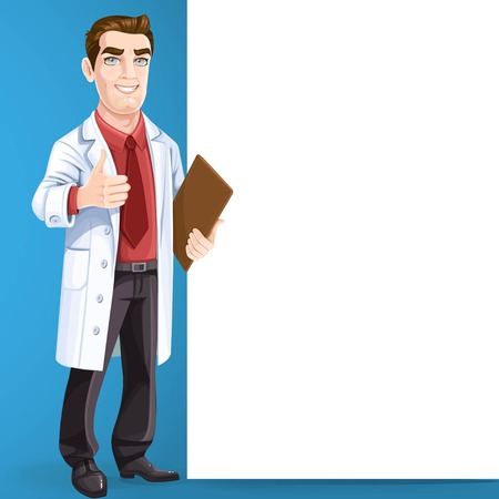 Cute male doctor in medical coat shows gesture thumbs up stand near big vertical banner on blue background