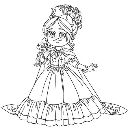 Beautiful princess with a flower in her hand and a long cloak outlined for coloring book isolated on white background