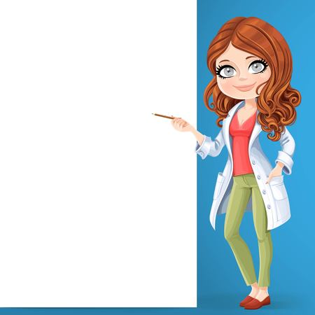 Beautiful brunette woman doctor in a white lab coat showing pencil on a big white banner stand on the blue background