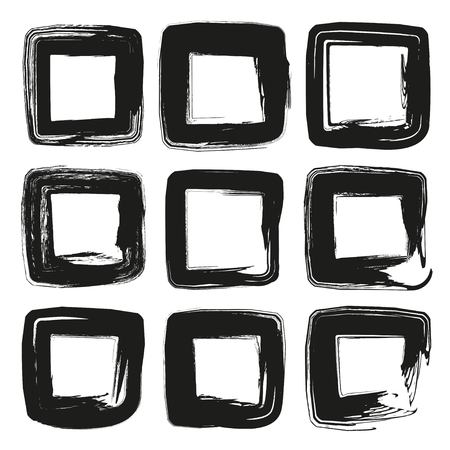 Square frames of thick black textured paint smears isolated on white background