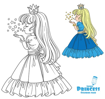 Beautiful princess girl blows off the magic shiny stars color and outlined picture for coloring book on white background Çizim