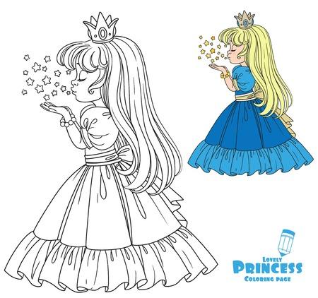Het mooie prinsesmeisje blaast de magische glanzende sterrenkleur en de geschetste afbeelding voor het kleuren van boek op witte achtergrond af