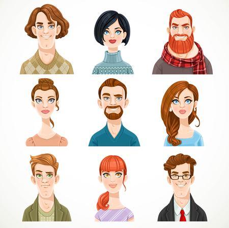 Conjunto de retratos de avatares de hombres y mujeres lindos aislados en un fondo blanco Foto de archivo - 83522725