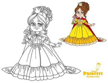 Beautiful princess with a flower in her hand and a long cloak color and outlined picture for coloring book on white background