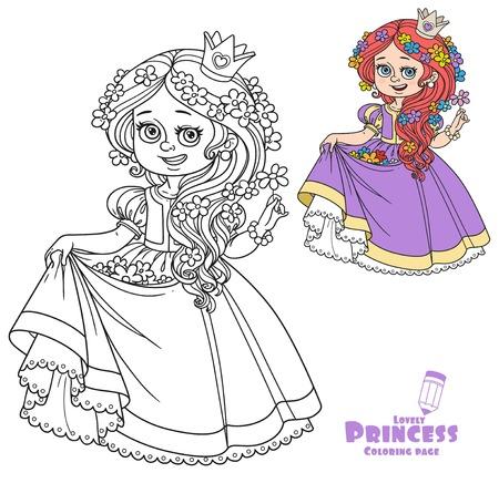 Bella principessa con i fiori nei capelli e l'orlo del colore del vestito e l'immagine descritta per il libro da colorare su fondo bianco