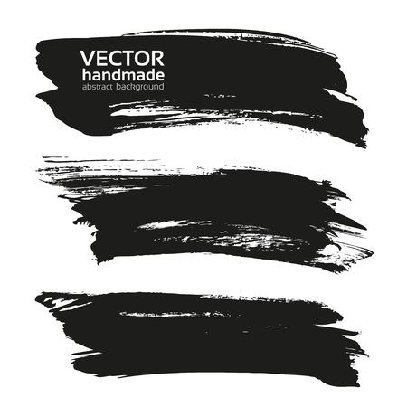 白い背景に分離された抽象的な大きな黒長い織り目加工ストローク