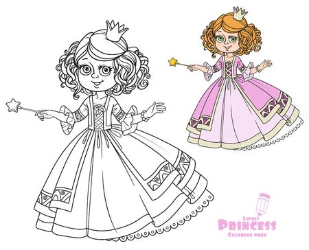 Beautiful little princess with magic wand color and outlined picture for coloring book on white background