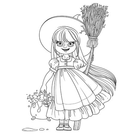 Sweet girl in witch costume holds a broom for flying and pot of bubbling potions outlined coloring page Illustration