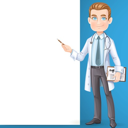 Cute male doctor with stethoscope and medical history on the document table shows big white banner and stand on the blue background Ilustração