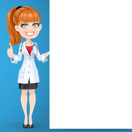 Beautiful girl doctor shows gesture thumbs up and hold big vertical banner standing on blue background