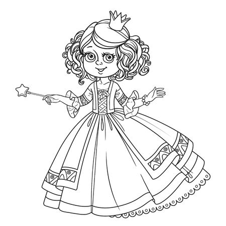 Mooie kleine prinses met toverstaf geschetst voor het kleuren van boek dat op witte achtergrond wordt geïsoleerd Stock Illustratie
