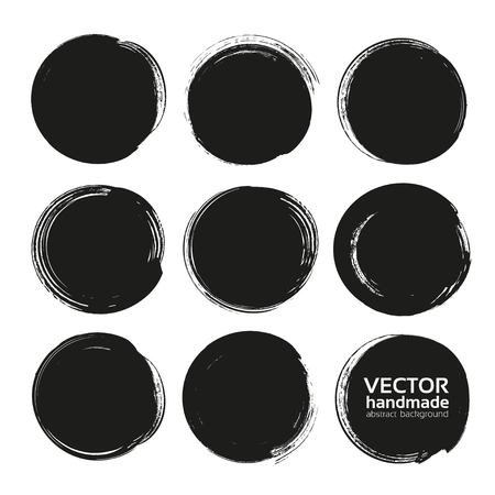 Circle black abstract thick textured paint smears isolated on white background Illustration