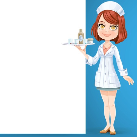 Cute girl nurse hold a tray with glass of pills standing near big white banner on the blue background